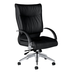 Global® Softcurve™ Bonded Leather High-Back Tilter Chair With Rounded Arms, Black