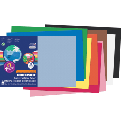 "Riverside® Groundwood Construction Paper, 100% Recycled, 12"" x 18"", Assorted Colors, Pack Of 50"
