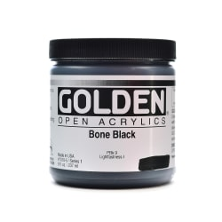Golden OPEN Acrylic Paint, 8 Oz Jar, Bone Black