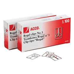 Acco Regal Clips - No. 3 - 20 Sheet Capacity - for Office, Home, School, Paper - Scratch Resistant, Tear Resistant - 200 / Pack - Silver