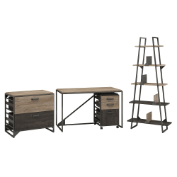 """Bush Furniture Refinery Industrial Desk With A Frame Bookshelf And File Cabinets, 50""""W, Rustic Gray/Charred Wood, Standard Delivery"""