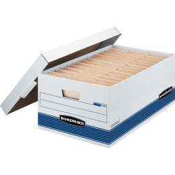 "Bankers Box® Stor/File™ FastFold® Medium-Duty Storage Boxes With Locking Lift-Off Lids And Built-In Handles, Legal Size, 24""D x 15"" x 10"", White/Blue, 60% Recycled, Case Of 12"