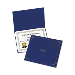 """Oxford Linen-finish Certificate Holders - Letter - 8 1/2"""" x 11"""" Sheet Size - Linen - Dark Blue - 5 / Pack"""