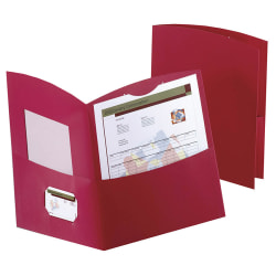 Oxford™ Contour Twin-Pocket Folders, 30% Recycled, Red, Box Of 25