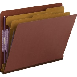 Smead® End-Tab Classification Folders With SafeSHIELD® Coated Fasteners, Letter Size, 100% Recycled, Red, Box Of 10