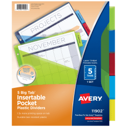 Avery® Big Tab™ Insertable Plastic Dividers, Single Pocket, Multicolor, 5-Tab