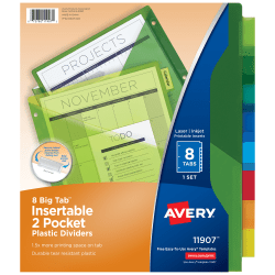Avery® Big Tab™ Insertable Plastic Dividers, Double Pocket, Multicolor, 8-Tab