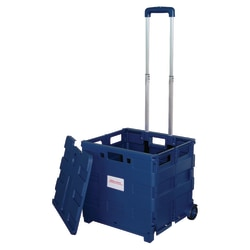 "Office Depot® Brand Mobile Folding Cart With Lid, 16""H x 18""W x 15""D, Blue"