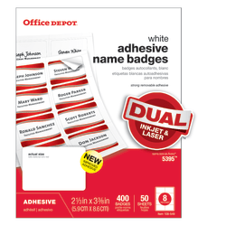 "Office Depot® Brand Name Badges, White, 2 1/3"" x 3 3/8"", Pack Of 400"