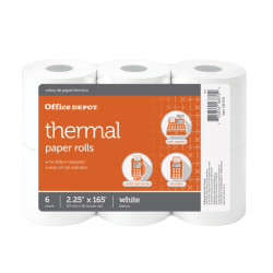 "Office Depot® Thermal Paper Rolls, 2 1/4"" x 165', White, Pack Of 6"
