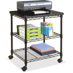 "Safco Deskside Wire Machine Stand - 200 lb Load Capacity - 2 x Shelf(ves) - 27"" Height x 24"" Width x 20"" Depth - Steel - Black"