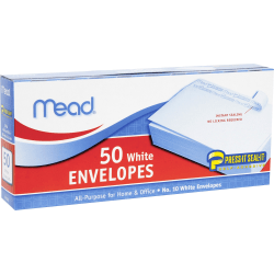 "Mead Plain White Self-Seal Business Envelopes - Business - #10 - 4 1/8"" Width x 9 1/2"" Length - Self-sealing - 50 / Box - White"