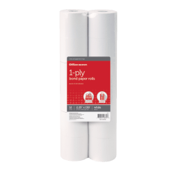 "Office Depot® 1-Ply Bond Paper Rolls, 2 1/4"" x 130', White, Pack Of 12"