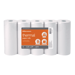 "Office Depot® Thermal Paper Rolls, 3 1/8"" x 230', White, Pack Of 10"