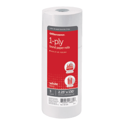 "Office Depot® Brand 1-Ply Paper Rolls, 2 1/4"" x 130', White, Pack Of 3"