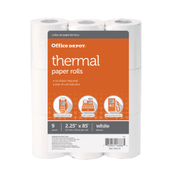 "Office Depot® Thermal Paper Rolls, 2 1/4"" x 85', White, Pack Of 9"