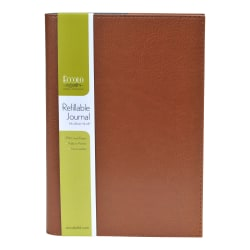 "Eccolo™ Refillable Simulated Leather Jacket Cover Journal, 6"" x 8"", Assorted"