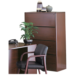 "HON® 10700 Radius-Edge 36-7/8""W Lateral 4-Drawer File Cabinet, Mahogany"
