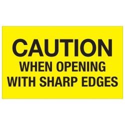 """Tape Logic® Preprinted Special Handling Labels, DL1224, Caution When Opening With Sharp Edges, Rectangle, 3"""" x 5"""", Fluorescent Yellow, Roll Of 500"""