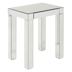 Ave Six Reflections Table, Accent, Rectangular, Silver Mirror