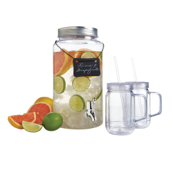 Mason Beverage Dispenser With Chalkboard Sign And Tumblers, 1.6 Gallon Dispenser, 4 Piece Set