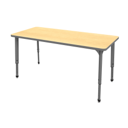 "Marco Group™ Apex™ Series Rectangle Adjustable Table, 30""H 72""W x 30""D, Maple/Gray"