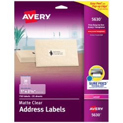 """Avery® Easy Peel® Permanent Laser Address Labels, 5630, 1"""" x 2 5/8"""", Clear, Pack Of 750"""