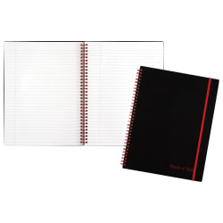 "Black n' Red™ Wirebound Notebook, 8 1/2"" x 11"", 1 Subject, College Ruled, 70 Sheets, Black/Red"