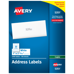 "Avery® Copier Permanent Address Labels, 5351, 1"" x 2 13/16"", White, Pack Of 3,300"