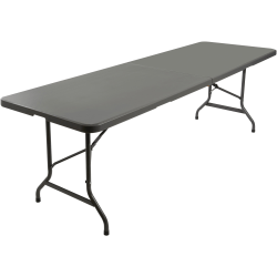 "Iceberg IndestrucTable TOO Bifold Table - Rectangle Top - 96"" Table Top Length x 30"" Table Top Width x 2"" Table Top Thickness - 29"" Height - Charcoal, Powder Coated - Tubular Steel"