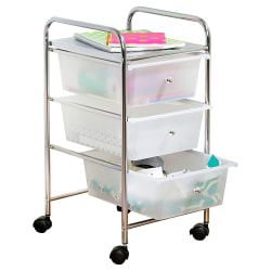 """Honey-Can-Do Plastic/Steel 3-Drawer Rolling Storage Cart, 37 7/16"""" x 15 5/16"""" x 13"""", White/Chrome"""