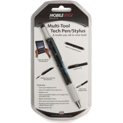 Mobile Edge Multi-Tool Tech Pen/Stylus (Black) - Metal - Black - Tablet, Smartphone Device Supported