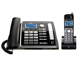 RCA 25255RE2 DECT 6.0 Digital 2-Line Corded/Cordless Expandable Phone Set With Digital Answering System