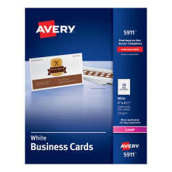 "Avery® Laser Microperforated Business Cards, 2"" x 3 1/2"", White, Pack of 2,500"