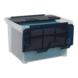 Office Depot® Brand Wing-Lid Letter/Legal Plastic Storage Box, 8.75 Quart, Clear/Navy Blue