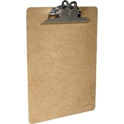 """Saunders Brown Hardboard Clipboards - 1"""" Clip Capacity - 8 1/2"""" x 11"""" - Spring Clip - Standard - Hardboard - Brown - 1 / Each"""