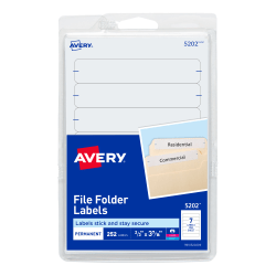 "Avery® Print-Or-Write Permanent Inkjet/Laser File Folder Labels, 5202, 5/8"" x 3 1/2"", White, Pack Of 252"