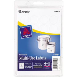 """Avery® Removable Round Multipurpose Labels, ID, 5408, 3/4"""" Diameter, White, Pack Of 1,008"""