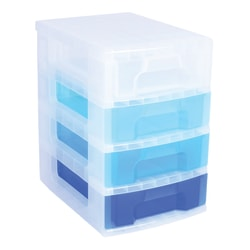 "Really Useful Box® Plastic 4-Drawer Storage Tower, 7 Liters, 18"" x 15 3/4"" x 12"", Clear/Blue"