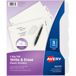 """Avery® Durable Write-On Plastic Dividers With Erasable Tabs, 8 1/2"""" x 11"""", White, 5 Tabs"""