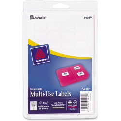 "Avery® Removable Inkjet/Laser Multipurpose Labels, ID, 5418, 1/2"" x 3/4"", White, Pack Of 1,008"