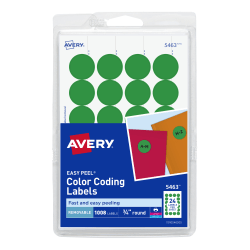 """Avery® Removable Round Color-Coding Labels, 5463, 3/4"""" Diameter, Green, Pack Of 1,008"""