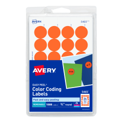 "Avery® Removable Round Color-Coding Labels, 5465, 3/4"" Diameter, Orange, Pack Of 1,008"