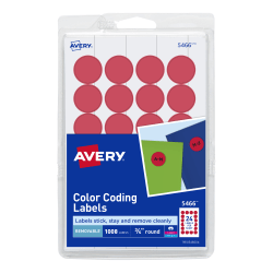 "Avery® Removable Round Color-Coding Labels, 5466, 3/4"" Diameter, Red, Pack Of 1,008"