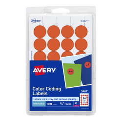 """Avery® Removable Round Color-Coding Labels, 5467, 3/4"""" Diameter, Red Glow, Pack Of 1,008"""