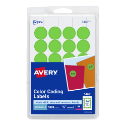 """Avery® Removable Round Color-Coding Labels, 5468, 3/4"""" Diameter, Green Neon, Pack Of 1,008"""