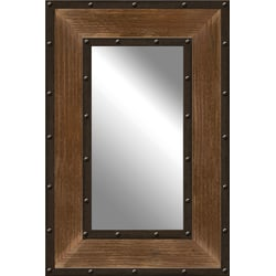 "PTM Images Framed Mirror, Metal And Wood, 30""H x 20""W, Natural Brown"