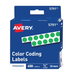 "Avery® Permanent Round Color-Coding Labels, 5791, 1/4"" Diameter, Green, Pack Of 450"