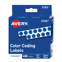 """Avery® Permanent Round Color-Coding Labels, 5793, 1/4"""" Diameter, Dark Blue, Pack Of 450"""