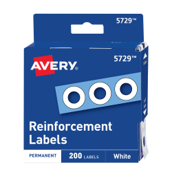 Avery® Permanent Self-Adhesive Reinforcement Labels, White, Pack Of 200